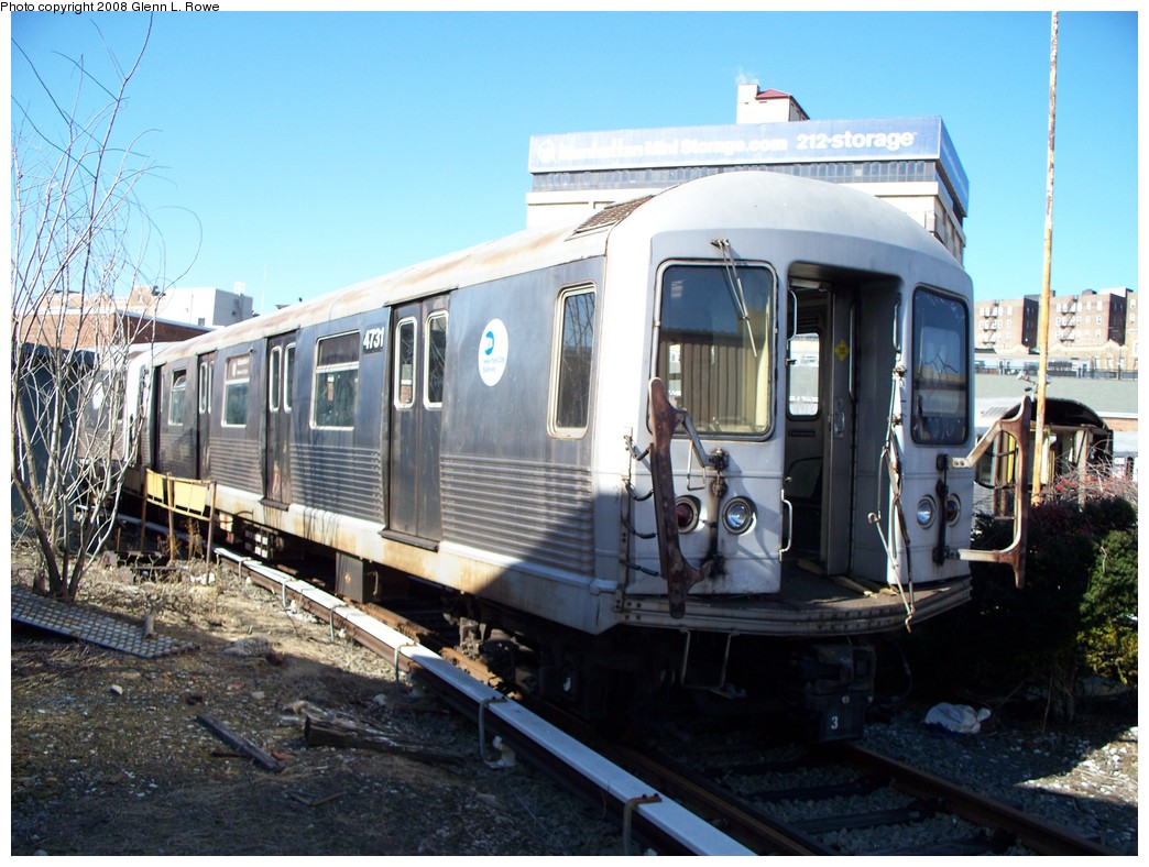 (236k, 1044x788)<br><b>Country:</b> United States<br><b>City:</b> New York<br><b>System:</b> New York City Transit<br><b>Location:</b> 207th Street Yard<br><b>Car:</b> R-42 (St. Louis, 1969-1970)  4731 <br><b>Photo by:</b> Glenn L. Rowe<br><b>Date:</b> 2/21/2008<br><b>Viewed (this week/total):</b> 2 / 1172