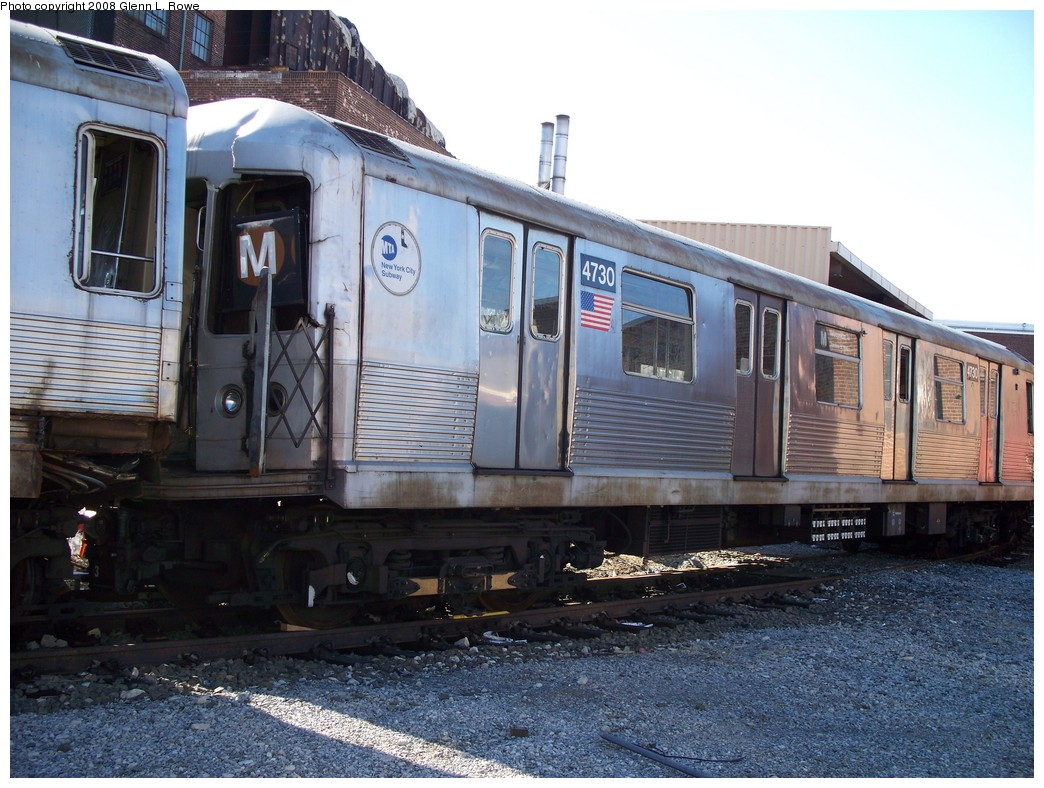 (243k, 1044x788)<br><b>Country:</b> United States<br><b>City:</b> New York<br><b>System:</b> New York City Transit<br><b>Location:</b> 207th Street Yard<br><b>Car:</b> R-42 (St. Louis, 1969-1970)  4730 <br><b>Photo by:</b> Glenn L. Rowe<br><b>Date:</b> 2/21/2008<br><b>Viewed (this week/total):</b> 1 / 1518