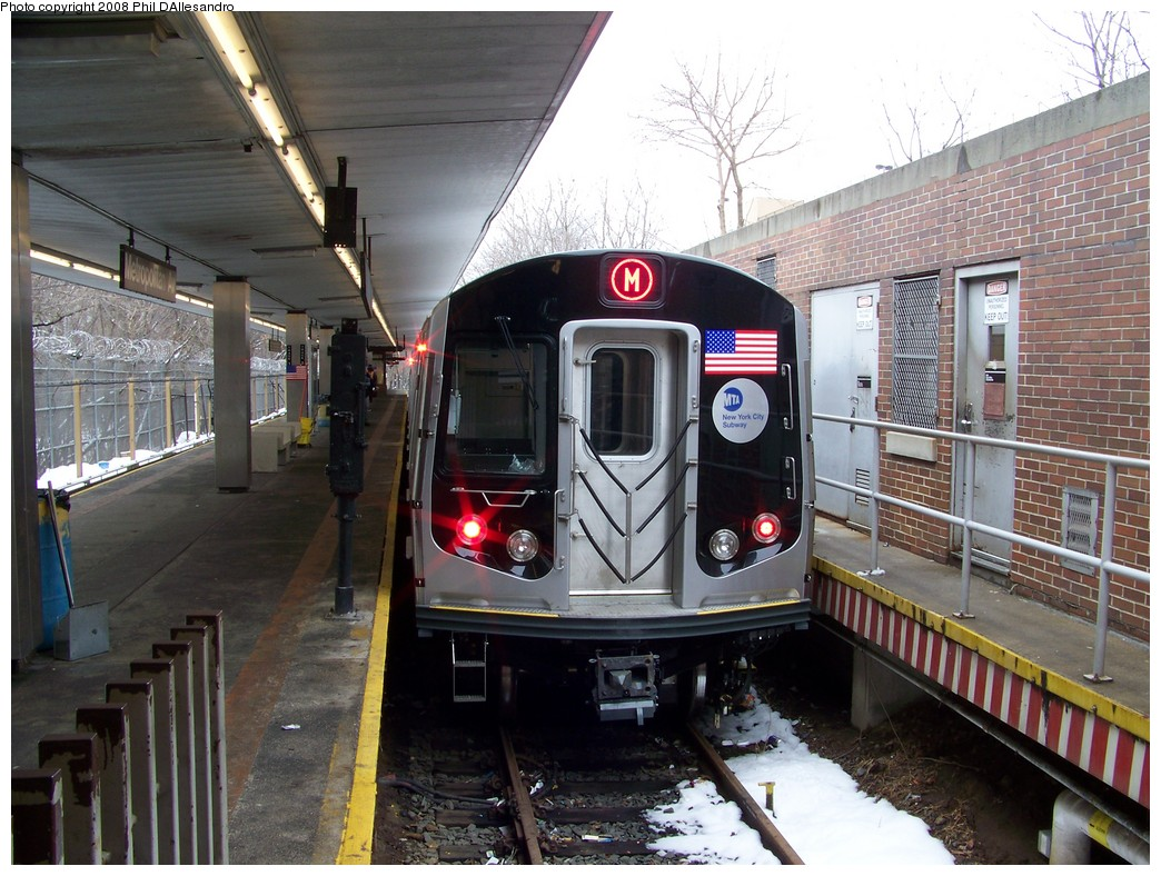 (250k, 1044x788)<br><b>Country:</b> United States<br><b>City:</b> New York<br><b>System:</b> New York City Transit<br><b>Line:</b> BMT Myrtle Avenue Line<br><b>Location:</b> Metropolitan Avenue <br><b>Route:</b> M<br><b>Car:</b> R-160A-1 (Alstom, 2005-2008, 4 car sets)  8445 <br><b>Photo by:</b> Philip D'Allesandro<br><b>Date:</b> 2/23/2008<br><b>Viewed (this week/total):</b> 8 / 3319
