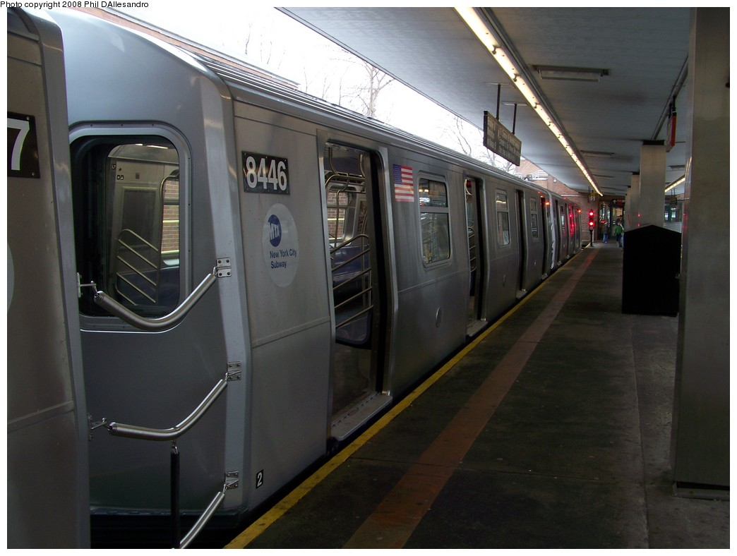 (171k, 1044x788)<br><b>Country:</b> United States<br><b>City:</b> New York<br><b>System:</b> New York City Transit<br><b>Line:</b> BMT Myrtle Avenue Line<br><b>Location:</b> Metropolitan Avenue <br><b>Route:</b> M<br><b>Car:</b> R-160A-1 (Alstom, 2005-2008, 4 car sets)  8446 <br><b>Photo by:</b> Philip D'Allesandro<br><b>Date:</b> 2/23/2008<br><b>Viewed (this week/total):</b> 4 / 1950