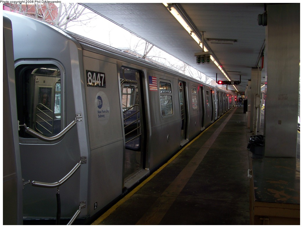 (180k, 1044x788)<br><b>Country:</b> United States<br><b>City:</b> New York<br><b>System:</b> New York City Transit<br><b>Line:</b> BMT Myrtle Avenue Line<br><b>Location:</b> Metropolitan Avenue <br><b>Route:</b> M<br><b>Car:</b> R-160A-1 (Alstom, 2005-2008, 4 car sets)  8447 <br><b>Photo by:</b> Philip D'Allesandro<br><b>Date:</b> 2/23/2008<br><b>Viewed (this week/total):</b> 0 / 1856