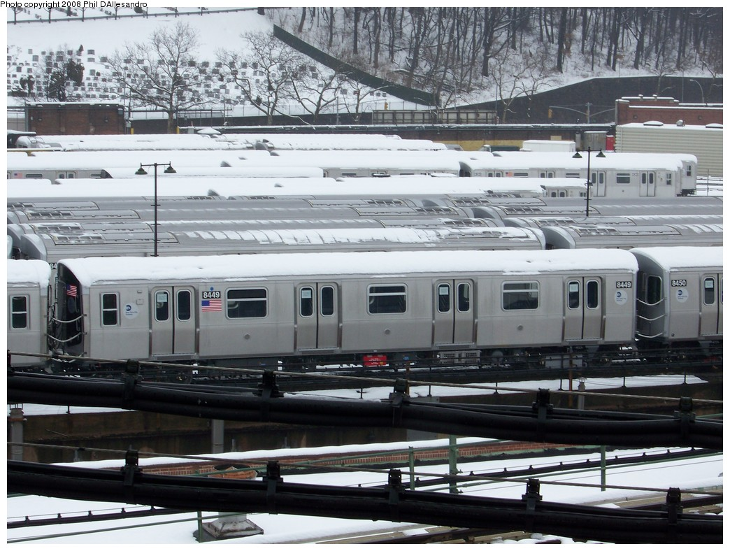 (245k, 1044x788)<br><b>Country:</b> United States<br><b>City:</b> New York<br><b>System:</b> New York City Transit<br><b>Location:</b> East New York Yard/Shops<br><b>Car:</b> R-160A-1 (Alstom, 2005-2008, 4 car sets)  8449 <br><b>Photo by:</b> Philip D'Allesandro<br><b>Date:</b> 2/22/2008<br><b>Viewed (this week/total):</b> 4 / 1375