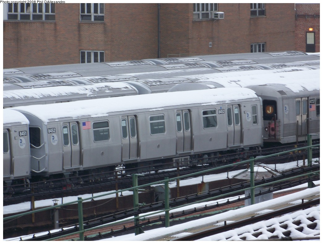 (214k, 1044x788)<br><b>Country:</b> United States<br><b>City:</b> New York<br><b>System:</b> New York City Transit<br><b>Location:</b> East New York Yard/Shops<br><b>Car:</b> R-160A-1 (Alstom, 2005-2008, 4 car sets)  8452 <br><b>Photo by:</b> Philip D'Allesandro<br><b>Date:</b> 2/22/2008<br><b>Viewed (this week/total):</b> 0 / 1740