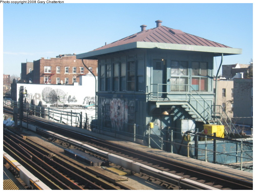 (136k, 820x620)<br><b>Country:</b> United States<br><b>City:</b> New York<br><b>System:</b> New York City Transit<br><b>Line:</b> IRT Flushing Line<br><b>Location:</b> 69th Street/Fisk Avenue <br><b>Photo by:</b> Gary Chatterton<br><b>Date:</b> 2/14/2008<br><b>Notes:</b> Fisk Tower-- 65 St Roosevelt Ave<br><b>Viewed (this week/total):</b> 0 / 712