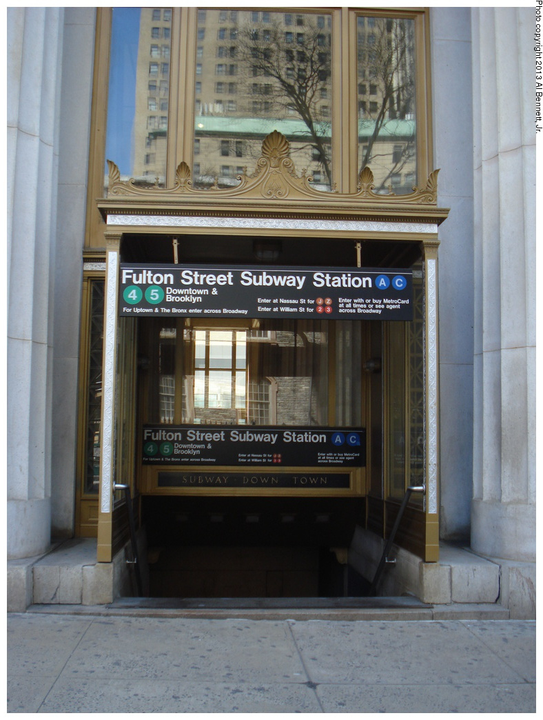 (311k, 788x1044)<br><b>Country:</b> United States<br><b>City:</b> New York<br><b>System:</b> New York City Transit<br><b>Line:</b> IRT East Side Line<br><b>Location:</b> Fulton Street <br><b>Photo by:</b> Al Bennett, Jr.<br><b>Date:</b> 4/4/2013<br><b>Viewed (this week/total):</b> 4 / 624