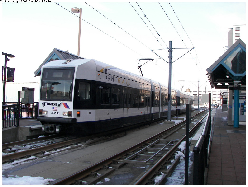 (238k, 1044x788)<br><b>Country:</b> United States<br><b>City:</b> Jersey City, NJ<br><b>System:</b> Hudson Bergen Light Rail<br><b>Location:</b> Harsimus Cove <br><b>Car:</b> NJT-HBLR LRV (Kinki-Sharyo, 1998-99)  2020 <br><b>Photo by:</b> David-Paul Gerber<br><b>Date:</b> 2/25/2008<br><b>Viewed (this week/total):</b> 1 / 584