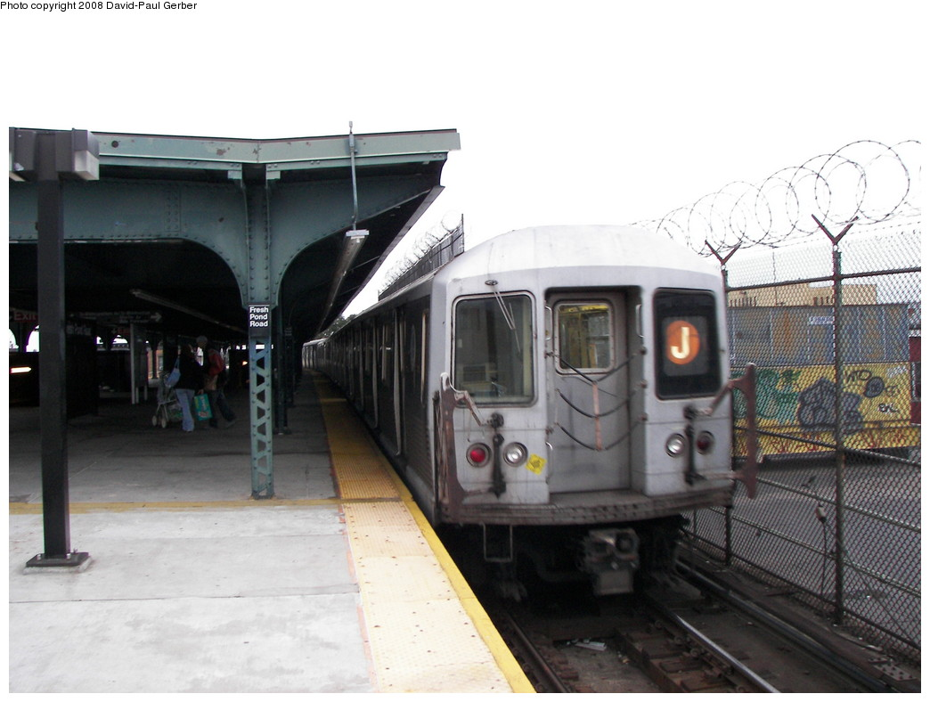 (232k, 1044x788)<br><b>Country:</b> United States<br><b>City:</b> New York<br><b>System:</b> New York City Transit<br><b>Line:</b> BMT Myrtle Avenue Line<br><b>Location:</b> Fresh Pond Road <br><b>Route:</b> J reroute<br><b>Car:</b> R-42 (St. Louis, 1969-1970)   <br><b>Photo by:</b> David-Paul Gerber<br><b>Date:</b> 2/17/2008<br><b>Viewed (this week/total):</b> 1 / 947