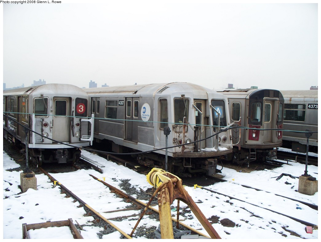 (191k, 1044x788)<br><b>Country:</b> United States<br><b>City:</b> New York<br><b>System:</b> New York City Transit<br><b>Location:</b> 207th Street Yard<br><b>Car:</b> R-40 (St. Louis, 1968)  4307 <br><b>Photo by:</b> Glenn L. Rowe<br><b>Date:</b> 2/26/2008<br><b>Viewed (this week/total):</b> 1 / 2692