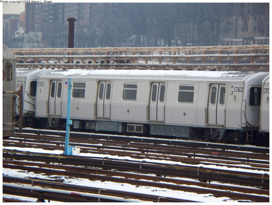 (221k, 1044x788)<br><b>Country:</b> United States<br><b>City:</b> New York<br><b>System:</b> New York City Transit<br><b>Location:</b> 207th Street Yard<br><b>Car:</b> R-143 (Kawasaki, 2001-2002) 8279 <br><b>Photo by:</b> Glenn L. Rowe<br><b>Date:</b> 2/26/2008<br><b>Viewed (this week/total):</b> 1 / 2309
