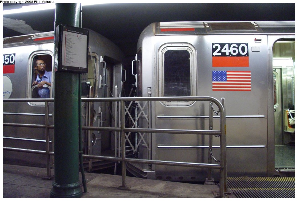 (177k, 1044x704)<br><b>Country:</b> United States<br><b>City:</b> New York<br><b>System:</b> New York City Transit<br><b>Line:</b> IRT West Side Line<br><b>Location:</b> South Ferry (Outer Loop Station) <br><b>Route:</b> 1<br><b>Car:</b> R-62A (Bombardier, 1984-1987)  2460 <br><b>Photo by:</b> Filip Matuska<br><b>Date:</b> 6/6/2007<br><b>Viewed (this week/total):</b> 0 / 1326