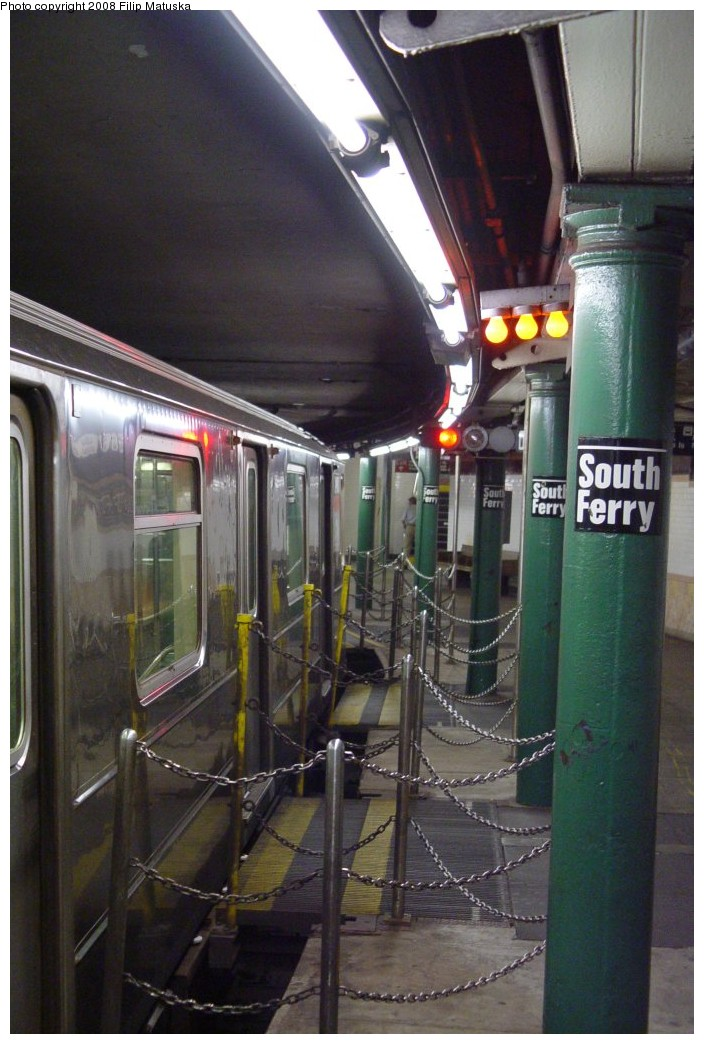 (181k, 704x1044)<br><b>Country:</b> United States<br><b>City:</b> New York<br><b>System:</b> New York City Transit<br><b>Line:</b> IRT West Side Line<br><b>Location:</b> South Ferry (Outer Loop Station) <br><b>Route:</b> 1<br><b>Car:</b> R-62A (Bombardier, 1984-1987)  2460 <br><b>Photo by:</b> Filip Matuska<br><b>Date:</b> 6/6/2007<br><b>Notes:</b> Gap fillers.<br><b>Viewed (this week/total):</b> 1 / 1097