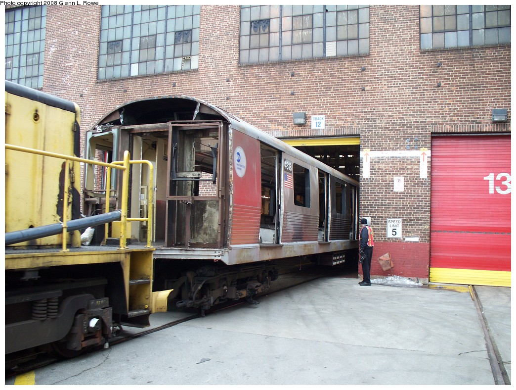 (280k, 1044x788)<br><b>Country:</b> United States<br><b>City:</b> New York<br><b>System:</b> New York City Transit<br><b>Location:</b> 207th Street Yard<br><b>Car:</b> R-42 (St. Louis, 1969-1970)  4818 <br><b>Photo by:</b> Glenn L. Rowe<br><b>Date:</b> 2/26/2008<br><b>Viewed (this week/total):</b> 0 / 1163