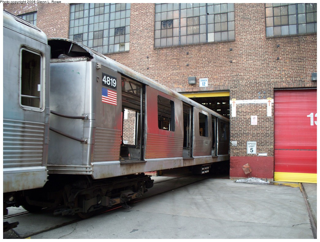 (259k, 1044x788)<br><b>Country:</b> United States<br><b>City:</b> New York<br><b>System:</b> New York City Transit<br><b>Location:</b> 207th Street Yard<br><b>Car:</b> R-42 (St. Louis, 1969-1970)  4819 <br><b>Photo by:</b> Glenn L. Rowe<br><b>Date:</b> 2/26/2008<br><b>Viewed (this week/total):</b> 0 / 709
