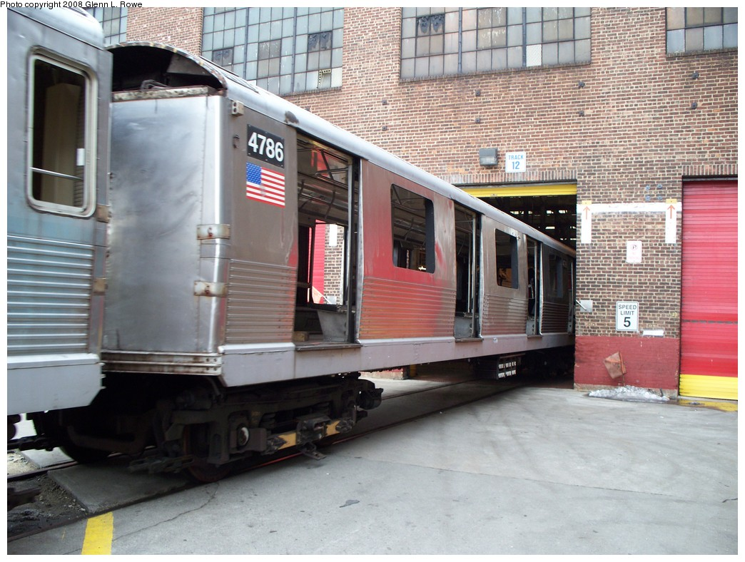 (244k, 1044x788)<br><b>Country:</b> United States<br><b>City:</b> New York<br><b>System:</b> New York City Transit<br><b>Location:</b> 207th Street Yard<br><b>Car:</b> R-42 (St. Louis, 1969-1970)  4786 <br><b>Photo by:</b> Glenn L. Rowe<br><b>Date:</b> 2/26/2008<br><b>Viewed (this week/total):</b> 1 / 1083