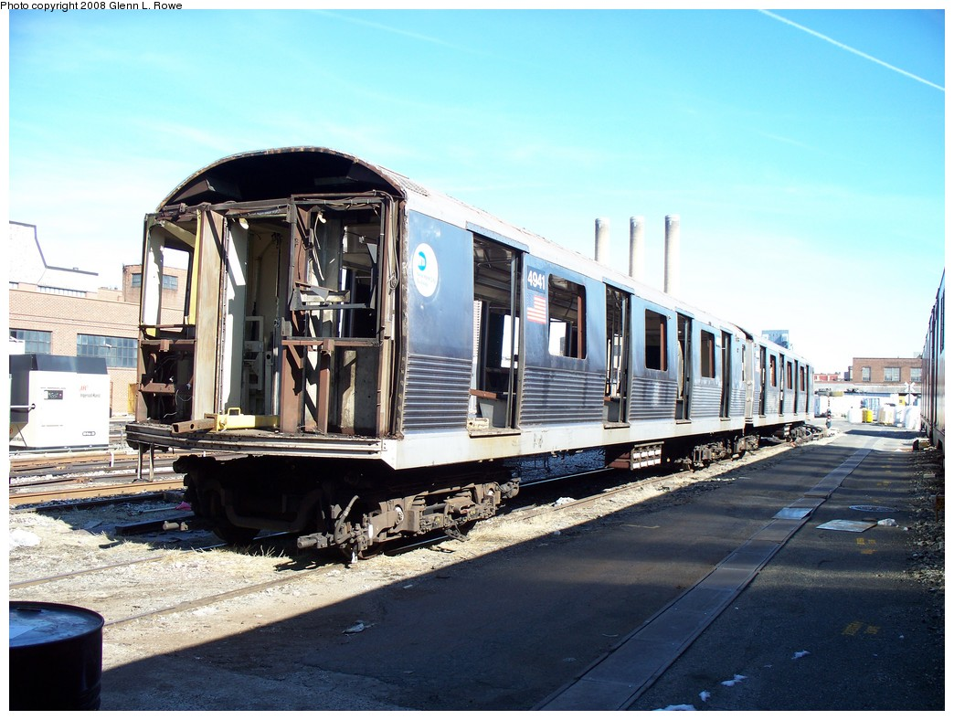 (228k, 1044x788)<br><b>Country:</b> United States<br><b>City:</b> New York<br><b>System:</b> New York City Transit<br><b>Location:</b> 207th Street Yard<br><b>Car:</b> R-42 (St. Louis, 1969-1970)  4941 <br><b>Photo by:</b> Glenn L. Rowe<br><b>Date:</b> 2/29/2008<br><b>Viewed (this week/total):</b> 0 / 930