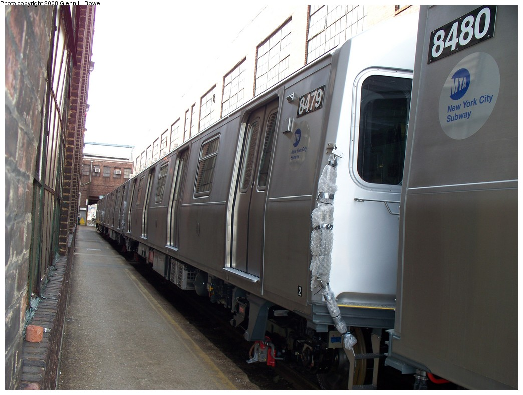 (197k, 1044x788)<br><b>Country:</b> United States<br><b>City:</b> New York<br><b>System:</b> New York City Transit<br><b>Location:</b> 207th Street Yard<br><b>Car:</b> R-160A-1 (Alstom, 2005-2008, 4 car sets)  8479 <br><b>Photo by:</b> Glenn L. Rowe<br><b>Date:</b> 3/3/2008<br><b>Viewed (this week/total):</b> 3 / 1677