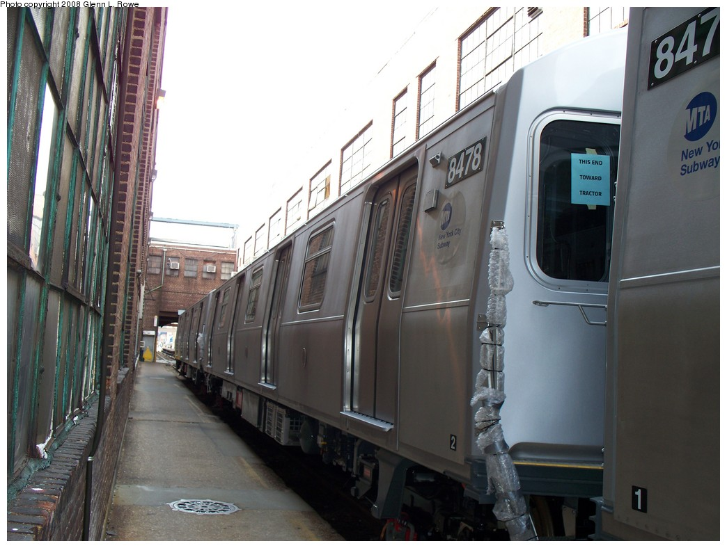(201k, 1044x788)<br><b>Country:</b> United States<br><b>City:</b> New York<br><b>System:</b> New York City Transit<br><b>Location:</b> 207th Street Yard<br><b>Car:</b> R-160A-1 (Alstom, 2005-2008, 4 car sets)  8478 <br><b>Photo by:</b> Glenn L. Rowe<br><b>Date:</b> 3/3/2008<br><b>Viewed (this week/total):</b> 0 / 1824