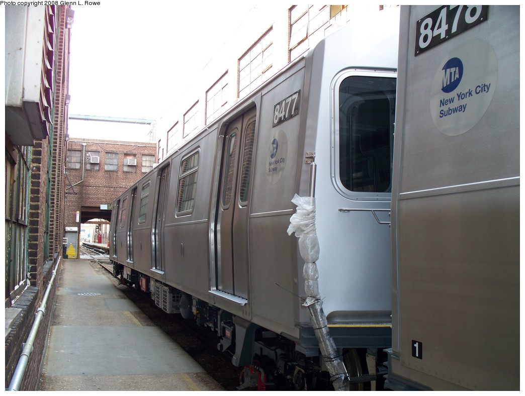 (192k, 1044x788)<br><b>Country:</b> United States<br><b>City:</b> New York<br><b>System:</b> New York City Transit<br><b>Location:</b> 207th Street Yard<br><b>Car:</b> R-160A-1 (Alstom, 2005-2008, 4 car sets)  8477 <br><b>Photo by:</b> Glenn L. Rowe<br><b>Date:</b> 3/3/2008<br><b>Viewed (this week/total):</b> 0 / 1923