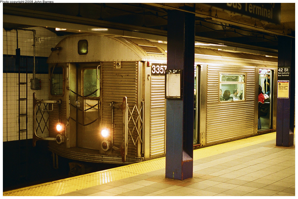 (310k, 1044x699)<br><b>Country:</b> United States<br><b>City:</b> New York<br><b>System:</b> New York City Transit<br><b>Line:</b> IND 8th Avenue Line<br><b>Location:</b> 42nd Street/Port Authority Bus Terminal <br><b>Route:</b> C<br><b>Car:</b> R-32 (Budd, 1964)  3357 <br><b>Photo by:</b> John Barnes<br><b>Date:</b> 2/25/2008<br><b>Viewed (this week/total):</b> 0 / 1664