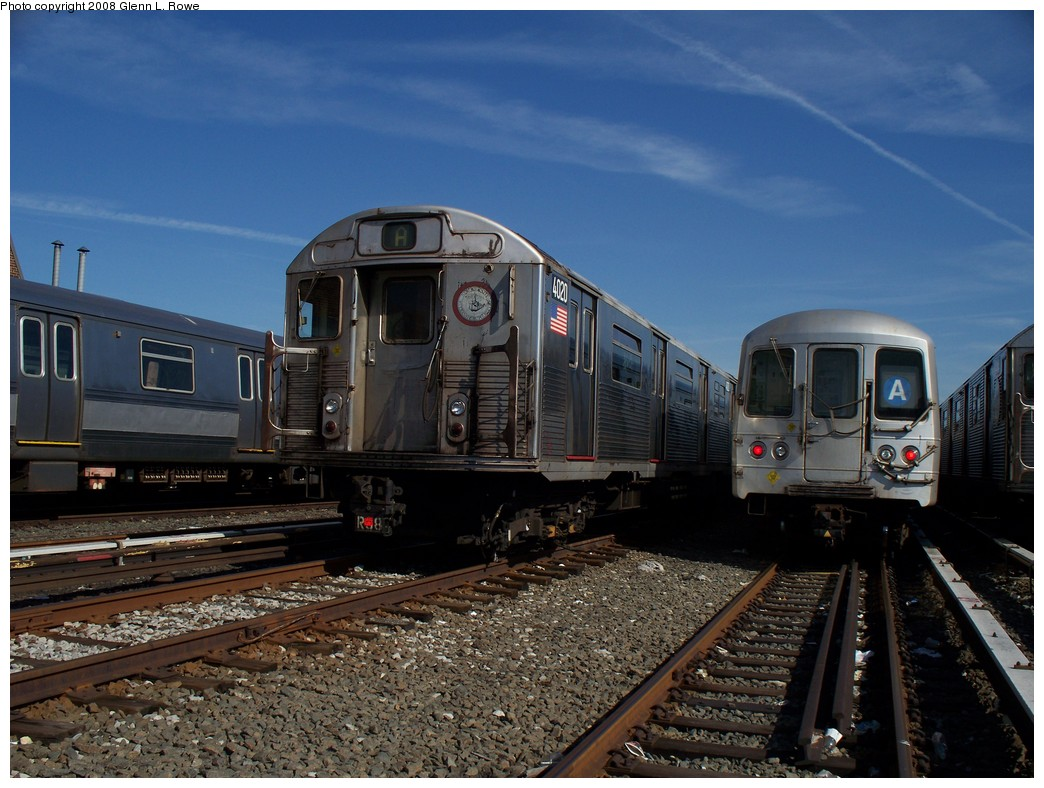 (225k, 1044x788)<br><b>Country:</b> United States<br><b>City:</b> New York<br><b>System:</b> New York City Transit<br><b>Location:</b> 207th Street Yard<br><b>Car:</b> R-38 (St. Louis, 1966-1967)  4020 <br><b>Photo by:</b> Glenn L. Rowe<br><b>Date:</b> 3/6/2008<br><b>Viewed (this week/total):</b> 0 / 1382