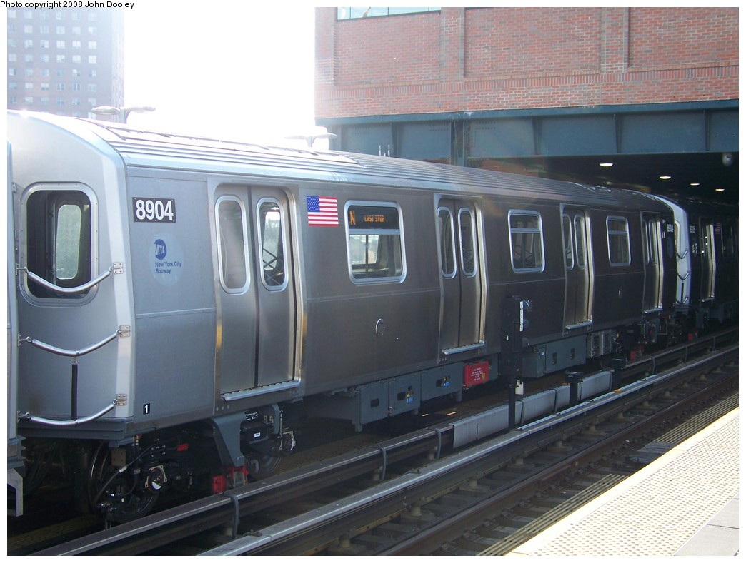 (197k, 1044x789)<br><b>Country:</b> United States<br><b>City:</b> New York<br><b>System:</b> New York City Transit<br><b>Location:</b> Coney Island/Stillwell Avenue<br><b>Route:</b> N<br><b>Car:</b> R-160B (Kawasaki, 2005-2008)  8904 <br><b>Photo by:</b> John Dooley<br><b>Date:</b> 3/3/2008<br><b>Viewed (this week/total):</b> 0 / 1757