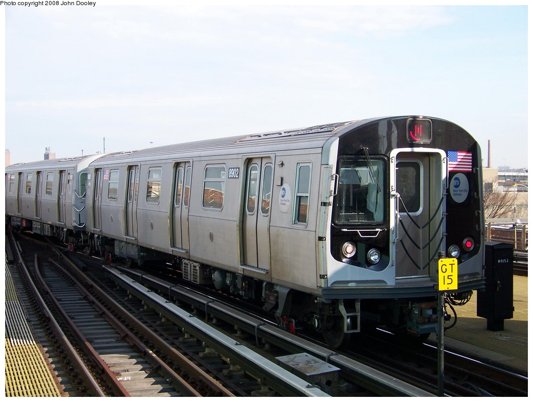 (198k, 1044x789)<br><b>Country:</b> United States<br><b>City:</b> New York<br><b>System:</b> New York City Transit<br><b>Location:</b> Coney Island/Stillwell Avenue<br><b>Route:</b> N<br><b>Car:</b> R-160B (Kawasaki, 2005-2008)  8902 <br><b>Photo by:</b> John Dooley<br><b>Date:</b> 3/3/2008<br><b>Viewed (this week/total):</b> 1 / 1981