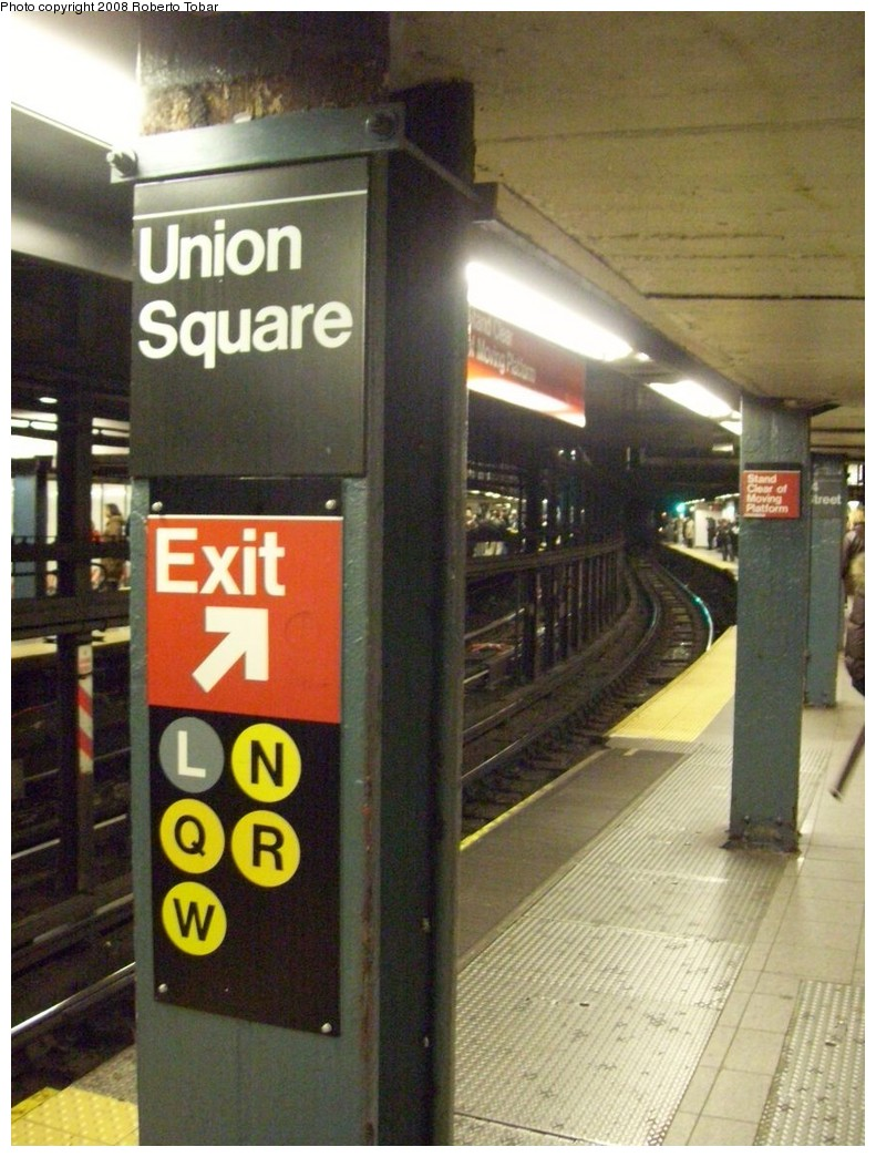 (220k, 791x1044)<br><b>Country:</b> United States<br><b>City:</b> New York<br><b>System:</b> New York City Transit<br><b>Line:</b> IRT East Side Line<br><b>Location:</b> 14th Street/Union Square <br><b>Photo by:</b> Roberto C. Tobar<br><b>Date:</b> 3/5/2008<br><b>Viewed (this week/total):</b> 1 / 1961
