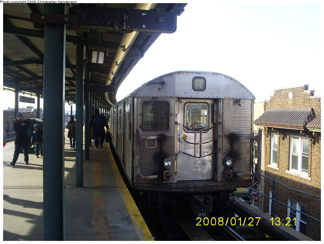 (251k, 1044x788)<br><b>Country:</b> United States<br><b>City:</b> New York<br><b>System:</b> New York City Transit<br><b>Line:</b> IND Fulton Street Line<br><b>Location:</b> Lefferts Boulevard <br><b>Route:</b> A<br><b>Car:</b> R-32 (Budd, 1964)  3361 <br><b>Photo by:</b> Christopher Henderson<br><b>Date:</b> 1/27/2008<br><b>Viewed (this week/total):</b> 0 / 1494