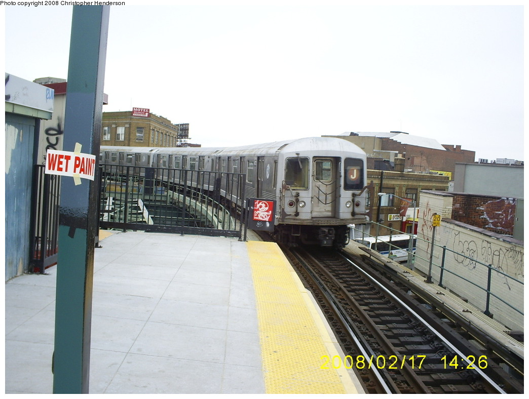 (235k, 1044x788)<br><b>Country:</b> United States<br><b>City:</b> New York<br><b>System:</b> New York City Transit<br><b>Line:</b> BMT Myrtle Avenue Line<br><b>Location:</b> Wyckoff Avenue <br><b>Route:</b> J<br><b>Car:</b> R-42 (St. Louis, 1969-1970)   <br><b>Photo by:</b> Christopher Henderson<br><b>Date:</b> 2/17/2008<br><b>Viewed (this week/total):</b> 2 / 1910