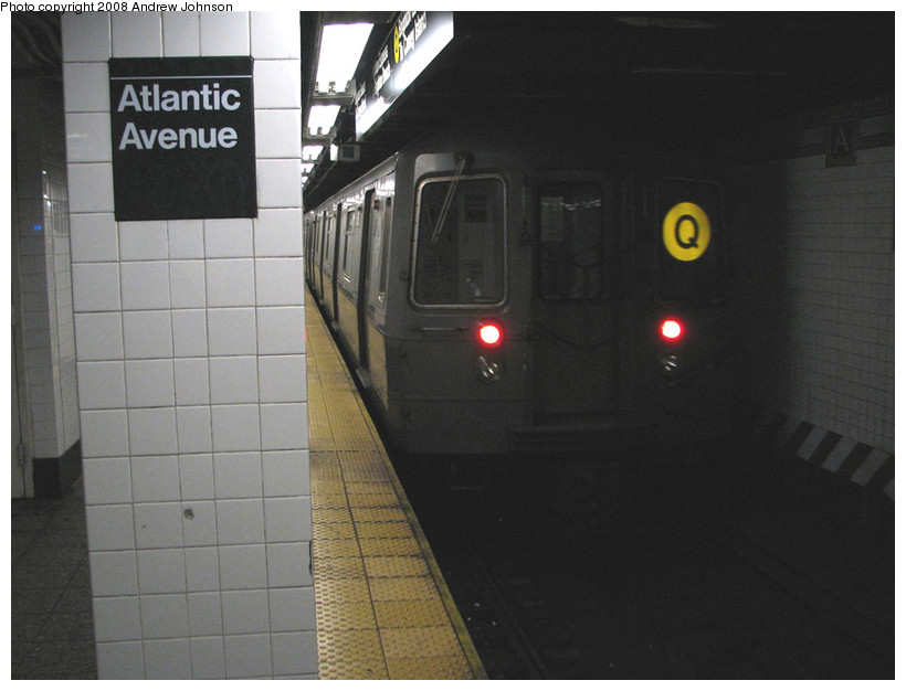 (124k, 820x626)<br><b>Country:</b> United States<br><b>City:</b> New York<br><b>System:</b> New York City Transit<br><b>Line:</b> BMT Brighton Line<br><b>Location:</b> Atlantic Avenue <br><b>Route:</b> Q<br><b>Car:</b> R-68A (Kawasaki, 1988-1989)   <br><b>Photo by:</b> Andrew Johnson<br><b>Date:</b> 3/4/2008<br><b>Viewed (this week/total):</b> 1 / 1689