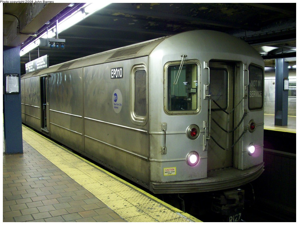 (204k, 1044x788)<br><b>Country:</b> United States<br><b>City:</b> New York<br><b>System:</b> New York City Transit<br><b>Line:</b> IND Queens Boulevard Line<br><b>Location:</b> 179th Street <br><b>Route:</b> Work Service<br><b>Car:</b> R-127/R-134 (Kawasaki, 1991-1996) EP010 <br><b>Photo by:</b> John Barnes<br><b>Date:</b> 3/14/2008<br><b>Viewed (this week/total):</b> 1 / 1963