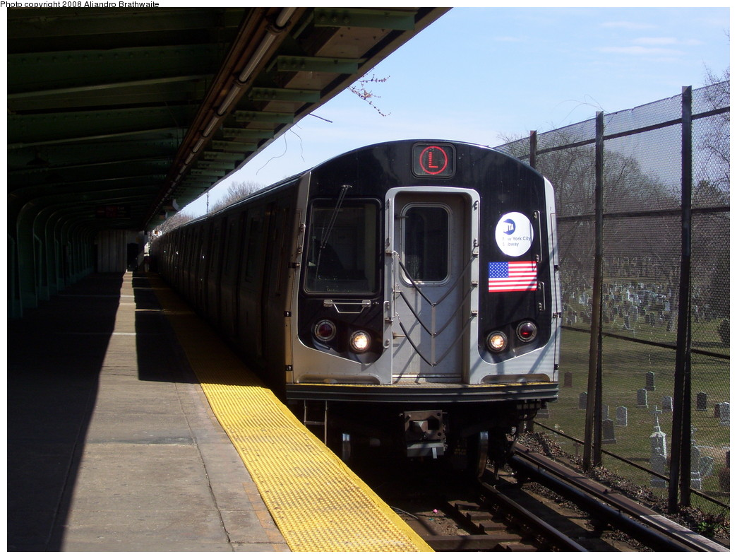(242k, 1044x791)<br><b>Country:</b> United States<br><b>City:</b> New York<br><b>System:</b> New York City Transit<br><b>Line:</b> BMT Canarsie Line<br><b>Location:</b> Wilson Avenue <br><b>Route:</b> L<br><b>Car:</b> R-143 (Kawasaki, 2001-2002) 8157 <br><b>Photo by:</b> Aliandro Brathwaite<br><b>Date:</b> 3/22/2008<br><b>Viewed (this week/total):</b> 1 / 1987