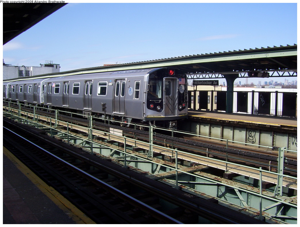 (256k, 1044x791)<br><b>Country:</b> United States<br><b>City:</b> New York<br><b>System:</b> New York City Transit<br><b>Line:</b> BMT Myrtle Avenue Line<br><b>Location:</b> Knickerbocker Avenue <br><b>Route:</b> M<br><b>Car:</b> R-160A-1 (Alstom, 2005-2008, 4 car sets)  8397 <br><b>Photo by:</b> Aliandro Brathwaite<br><b>Date:</b> 3/22/2008<br><b>Viewed (this week/total):</b> 2 / 2029