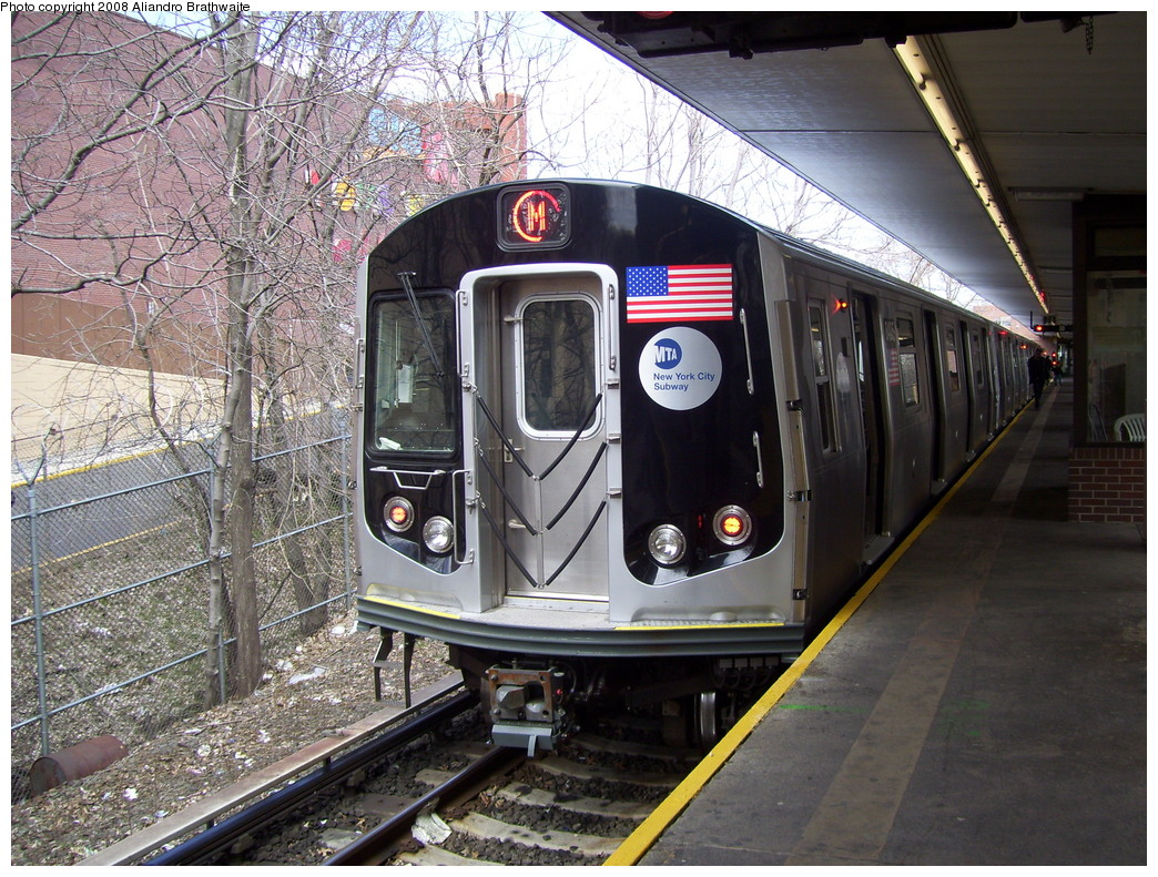 (322k, 1044x791)<br><b>Country:</b> United States<br><b>City:</b> New York<br><b>System:</b> New York City Transit<br><b>Line:</b> BMT Myrtle Avenue Line<br><b>Location:</b> Metropolitan Avenue <br><b>Route:</b> M<br><b>Car:</b> R-160A-1 (Alstom, 2005-2008, 4 car sets)  8405 <br><b>Photo by:</b> Aliandro Brathwaite<br><b>Date:</b> 3/22/2008<br><b>Viewed (this week/total):</b> 1 / 2363