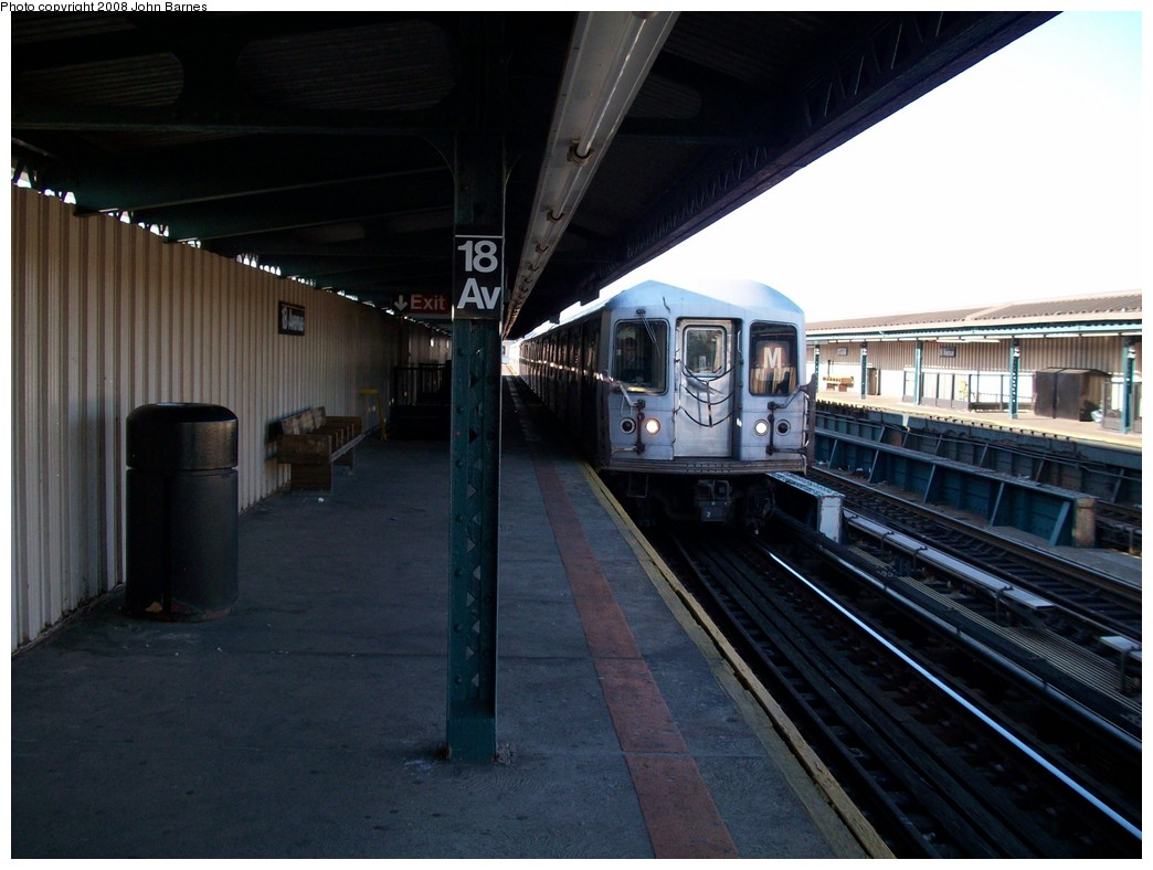 (186k, 1044x788)<br><b>Country:</b> United States<br><b>City:</b> New York<br><b>System:</b> New York City Transit<br><b>Line:</b> BMT West End Line<br><b>Location:</b> 18th Avenue <br><b>Route:</b> M<br><b>Car:</b> R-42 (St. Louis, 1969-1970)  4614 <br><b>Photo by:</b> John Barnes<br><b>Date:</b> 3/17/2008<br><b>Viewed (this week/total):</b> 2 / 1134