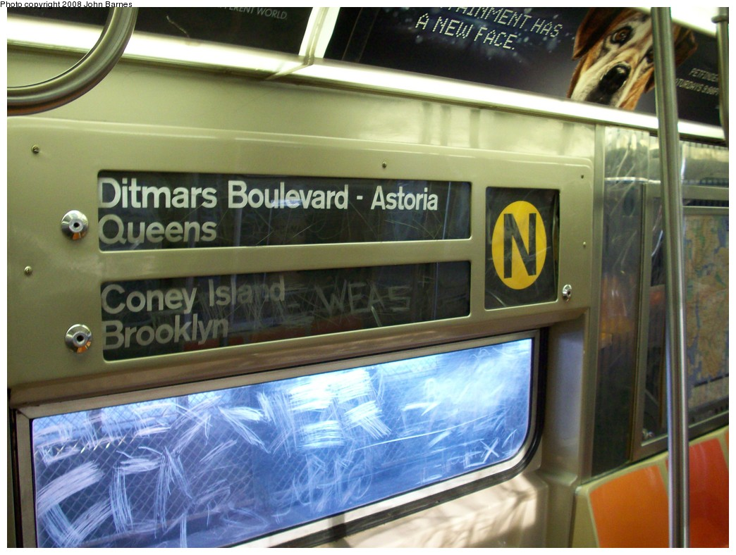 (210k, 1044x788)<br><b>Country:</b> United States<br><b>City:</b> New York<br><b>System:</b> New York City Transit<br><b>Location:</b> Coney Island/Stillwell Avenue<br><b>Route:</b> N<br><b>Car:</b> R-68 (Westinghouse-Amrail, 1986-1988)  2807 <br><b>Photo by:</b> John Barnes<br><b>Date:</b> 3/17/2008<br><b>Notes:</b> Original R-68 Roll Signs<br><b>Viewed (this week/total):</b> 2 / 2530