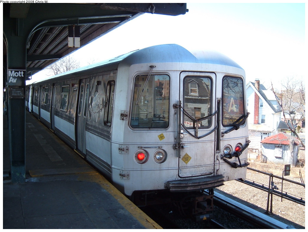 (231k, 1044x788)<br><b>Country:</b> United States<br><b>City:</b> New York<br><b>System:</b> New York City Transit<br><b>Line:</b> IND Rockaway<br><b>Location:</b> Mott Avenue/Far Rockaway <br><b>Route:</b> A<br><b>Car:</b> R-44 (St. Louis, 1971-73) 5324 <br><b>Photo by:</b> Chris M.<br><b>Date:</b> 3/17/2008<br><b>Viewed (this week/total):</b> 0 / 928