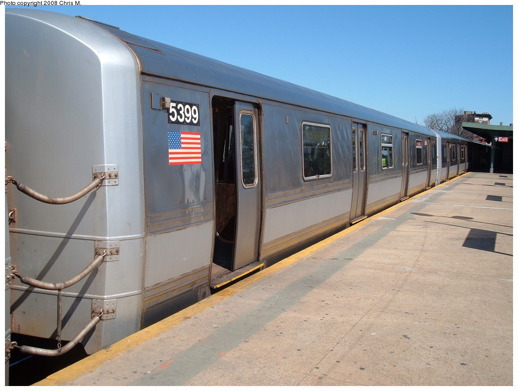 (207k, 1044x788)<br><b>Country:</b> United States<br><b>City:</b> New York<br><b>System:</b> New York City Transit<br><b>Line:</b> IND Rockaway<br><b>Location:</b> Mott Avenue/Far Rockaway <br><b>Route:</b> A<br><b>Car:</b> R-44 (St. Louis, 1971-73) 5399 <br><b>Photo by:</b> Chris M.<br><b>Date:</b> 3/17/2008<br><b>Viewed (this week/total):</b> 4 / 1180