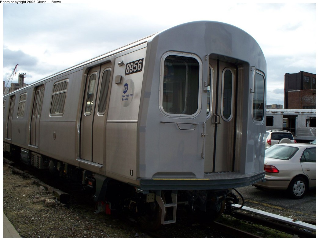 (171k, 1044x788)<br><b>Country:</b> United States<br><b>City:</b> New York<br><b>System:</b> New York City Transit<br><b>Location:</b> 207th Street Yard<br><b>Car:</b> R-160B (Kawasaki, 2005-2008)  8956 <br><b>Photo by:</b> Glenn L. Rowe<br><b>Date:</b> 3/20/2008<br><b>Viewed (this week/total):</b> 2 / 2425