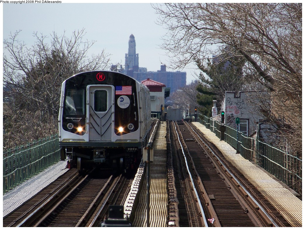 (349k, 1044x788)<br><b>Country:</b> United States<br><b>City:</b> New York<br><b>System:</b> New York City Transit<br><b>Line:</b> BMT Myrtle Avenue Line<br><b>Location:</b> Fresh Pond Road <br><b>Route:</b> M<br><b>Car:</b> R-160A-1 (Alstom, 2005-2008, 4 car sets)  8397 <br><b>Photo by:</b> Philip D'Allesandro<br><b>Date:</b> 3/22/2008<br><b>Viewed (this week/total):</b> 2 / 1626