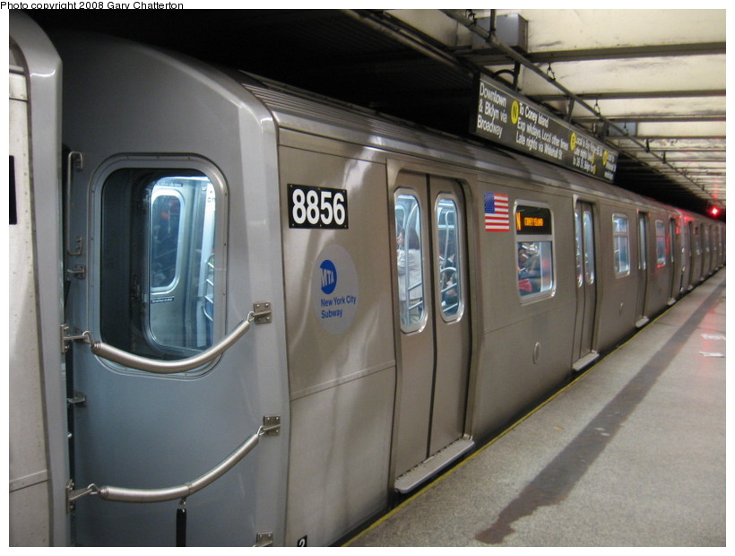 (120k, 820x620)<br><b>Country:</b> United States<br><b>City:</b> New York<br><b>System:</b> New York City Transit<br><b>Line:</b> BMT Broadway Line<br><b>Location:</b> 49th Street <br><b>Route:</b> N<br><b>Car:</b> R-160B (Kawasaki, 2005-2008)  8856 <br><b>Photo by:</b> Gary Chatterton<br><b>Date:</b> 3/11/2008<br><b>Viewed (this week/total):</b> 0 / 3048