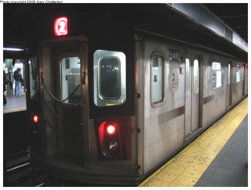 (100k, 820x620)<br><b>Country:</b> United States<br><b>City:</b> New York<br><b>System:</b> New York City Transit<br><b>Line:</b> IRT West Side Line<br><b>Location:</b> Times Square/42nd Street <br><b>Route:</b> 2<br><b>Car:</b> R-142 (Primary Order, Bombardier, 1999-2002)  6491 <br><b>Photo by:</b> Gary Chatterton<br><b>Date:</b> 3/20/2008<br><b>Viewed (this week/total):</b> 3 / 2766