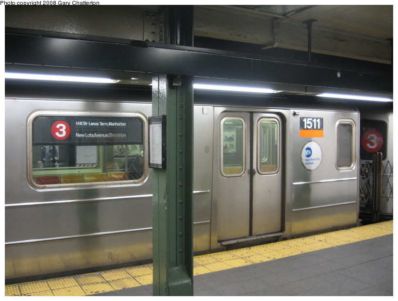(117k, 820x620)<br><b>Country:</b> United States<br><b>City:</b> New York<br><b>System:</b> New York City Transit<br><b>Line:</b> IRT West Side Line<br><b>Location:</b> Times Square/42nd Street <br><b>Route:</b> 3<br><b>Car:</b> R-62 (Kawasaki, 1983-1985)  1511 <br><b>Photo by:</b> Gary Chatterton<br><b>Date:</b> 3/20/2008<br><b>Viewed (this week/total):</b> 6 / 3053
