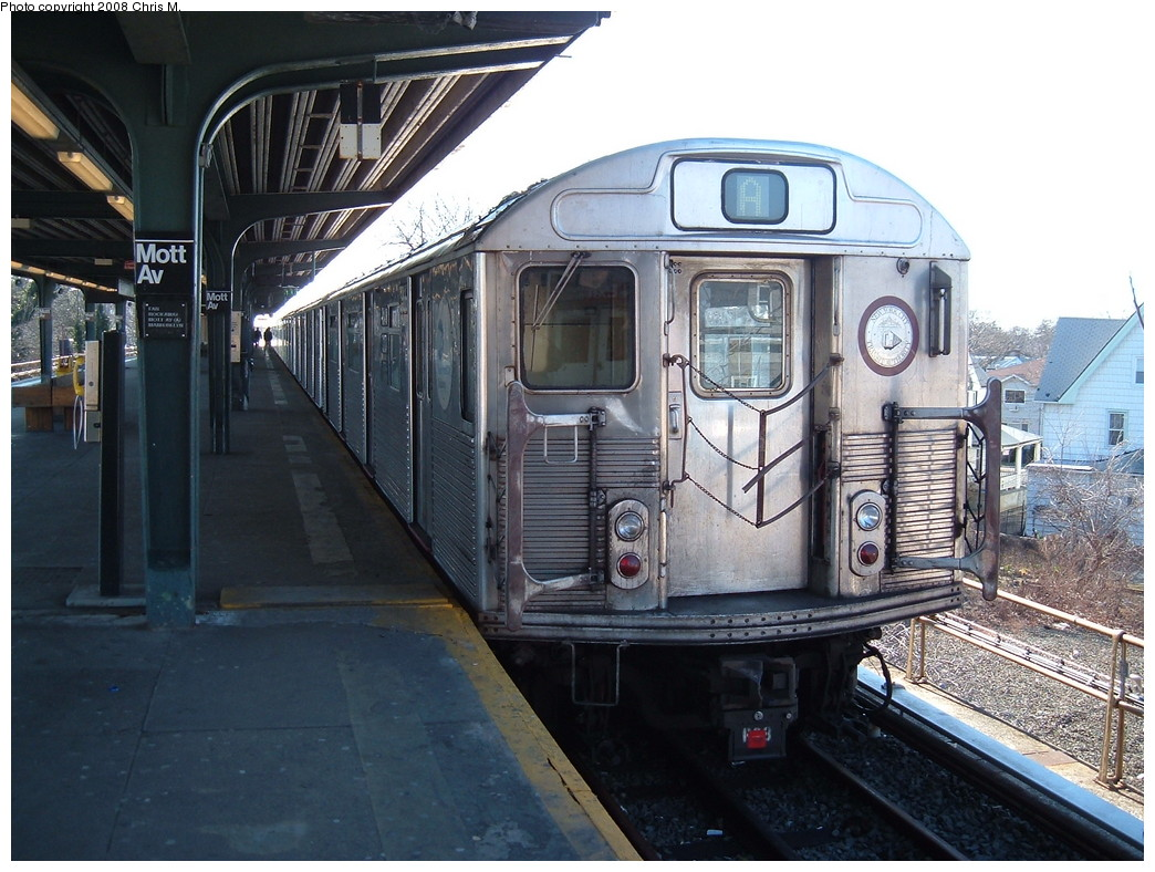 (241k, 1044x788)<br><b>Country:</b> United States<br><b>City:</b> New York<br><b>System:</b> New York City Transit<br><b>Line:</b> IND Rockaway<br><b>Location:</b> Mott Avenue/Far Rockaway <br><b>Route:</b> A<br><b>Car:</b> R-38 (St. Louis, 1966-1967)  3966 <br><b>Photo by:</b> Chris M.<br><b>Date:</b> 3/9/2008<br><b>Viewed (this week/total):</b> 0 / 1080