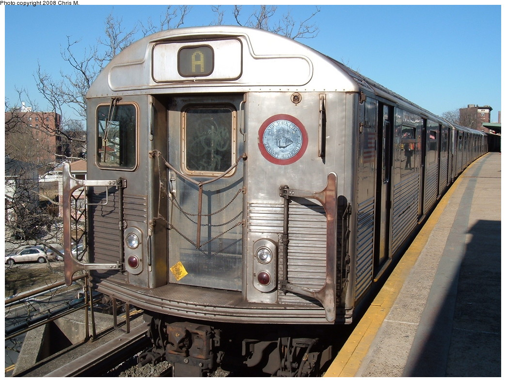 (278k, 1044x788)<br><b>Country:</b> United States<br><b>City:</b> New York<br><b>System:</b> New York City Transit<br><b>Line:</b> IND Rockaway<br><b>Location:</b> Mott Avenue/Far Rockaway <br><b>Route:</b> A<br><b>Car:</b> R-38 (St. Louis, 1966-1967)  4010 <br><b>Photo by:</b> Chris M.<br><b>Date:</b> 3/9/2008<br><b>Viewed (this week/total):</b> 1 / 1216