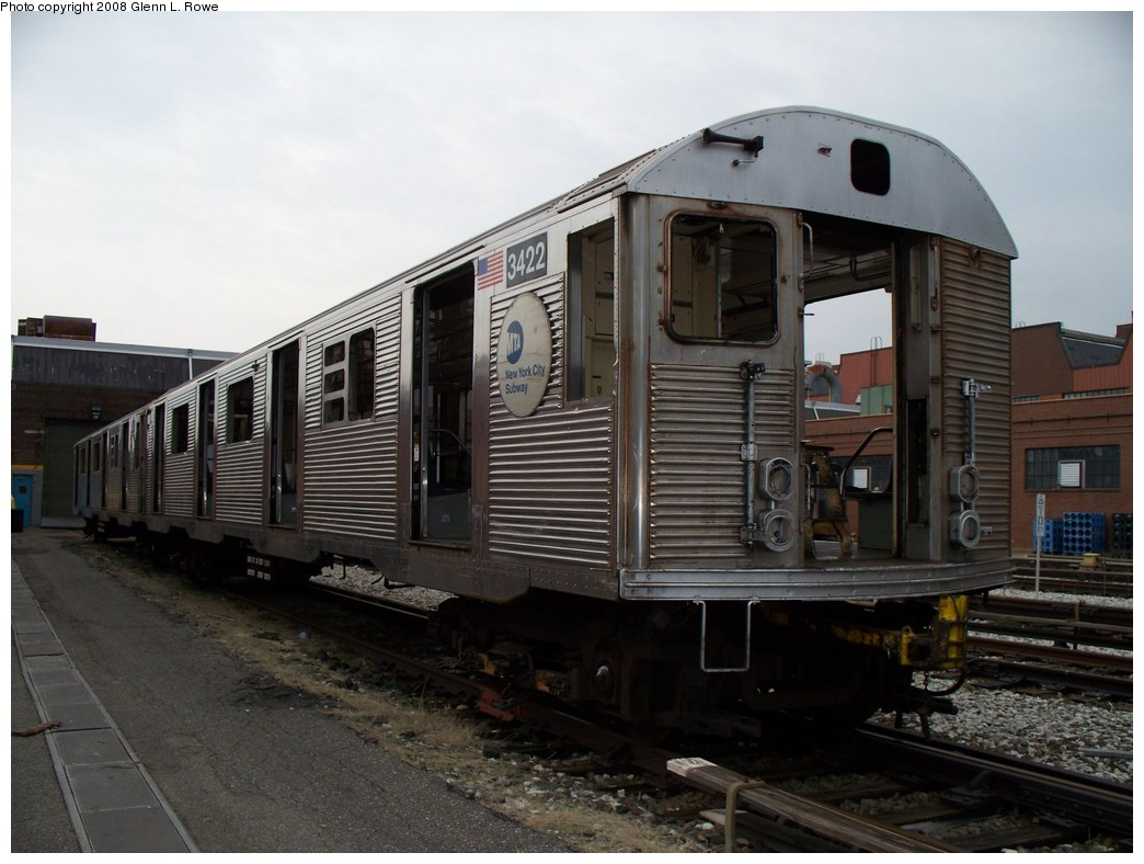 (191k, 1044x788)<br><b>Country:</b> United States<br><b>City:</b> New York<br><b>System:</b> New York City Transit<br><b>Location:</b> 207th Street Yard<br><b>Car:</b> R-32 (Budd, 1964)  3422 <br><b>Photo by:</b> Glenn L. Rowe<br><b>Date:</b> 3/28/2008<br><b>Viewed (this week/total):</b> 0 / 2405