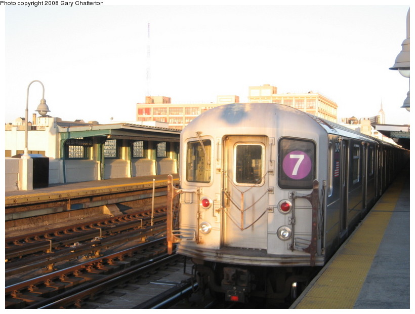 (113k, 820x620)<br><b>Country:</b> United States<br><b>City:</b> New York<br><b>System:</b> New York City Transit<br><b>Line:</b> IRT Flushing Line<br><b>Location:</b> 52nd Street/Lincoln Avenue <br><b>Route:</b> 7<br><b>Car:</b> R-62A (Bombardier, 1984-1987)  2042 <br><b>Photo by:</b> Gary Chatterton<br><b>Date:</b> 3/29/2008<br><b>Viewed (this week/total):</b> 0 / 1104