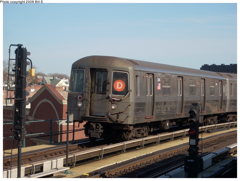 (157k, 819x619)<br><b>Country:</b> United States<br><b>City:</b> New York<br><b>System:</b> New York City Transit<br><b>Line:</b> BMT West End Line<br><b>Location:</b> 25th Avenue <br><b>Route:</b> D<br><b>Car:</b> R-68 (Westinghouse-Amrail, 1986-1988)  2646 <br><b>Photo by:</b> Bill E.<br><b>Date:</b> 3/23/2008<br><b>Viewed (this week/total):</b> 0 / 1191