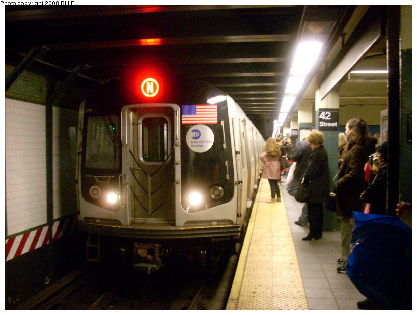 (167k, 819x619)<br><b>Country:</b> United States<br><b>City:</b> New York<br><b>System:</b> New York City Transit<br><b>Line:</b> BMT Broadway Line<br><b>Location:</b> Times Square/42nd Street <br><b>Route:</b> N<br><b>Car:</b> R-160A/R-160B Series (Number Unknown)  <br><b>Photo by:</b> Bill E.<br><b>Date:</b> 3/29/2008<br><b>Viewed (this week/total):</b> 0 / 2628