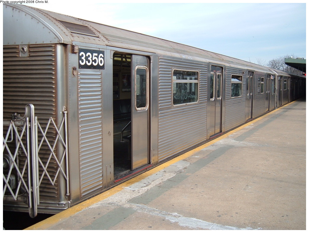 (242k, 1044x788)<br><b>Country:</b> United States<br><b>City:</b> New York<br><b>System:</b> New York City Transit<br><b>Line:</b> IND Rockaway<br><b>Location:</b> Mott Avenue/Far Rockaway <br><b>Route:</b> A<br><b>Car:</b> R-32 (Budd, 1964)  3356 <br><b>Photo by:</b> Chris M.<br><b>Date:</b> 1/29/2008<br><b>Viewed (this week/total):</b> 0 / 1307